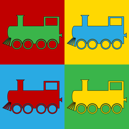 Pop art locomotive symbol icons. Vector illustration. Vector