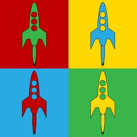 ignition: Pop art starting rocket symbol icons. Vector illustration. Illustration