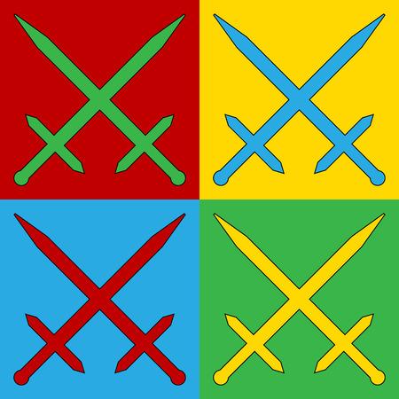 crossed swords: El arte pop cruz� espadas iconos de s�mbolos. Ilustraci�n del vector.