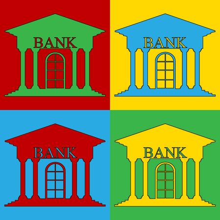 depository: Pop art bank symbol icons. Vector illustration. Illustration