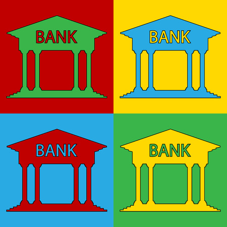 depository: Pop art bank symbol icons. Vector illustration. Illustration