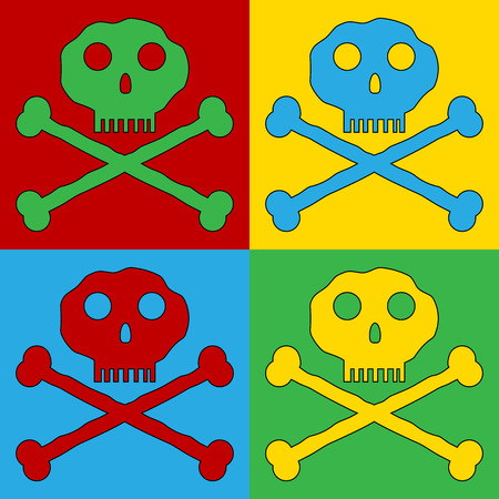 terribly: Pop art skull and bones danger sign symbol icons. Vector illustration.