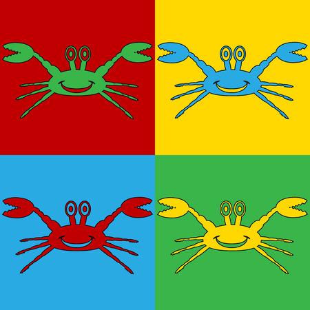 arthropoda: Pop art crab symbol icons. Vector illustration. Illustration