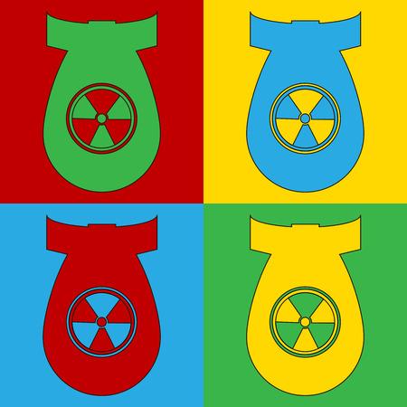 atom bomb: Pop art atom bomb symbol icons. Vector illustration. Illustration