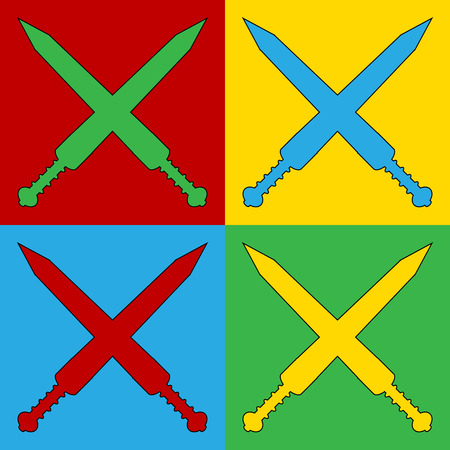 longsword: Pop art crossed gladius swords symbol icons. Vector illustration. Illustration