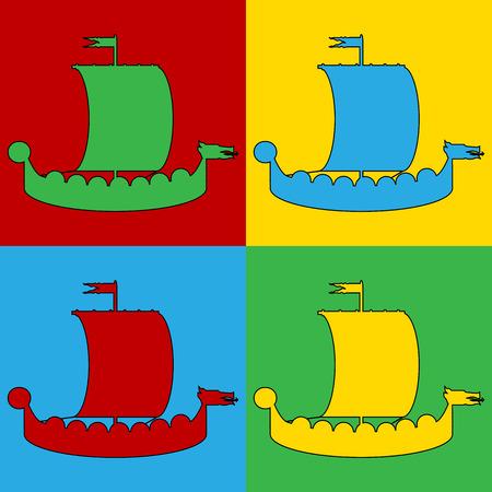 drakkar: Pop art drakkar symbol icons. Vector illustration. Illustration