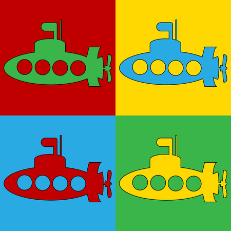periscope: Pop art submarine symbol icons. Vector illustration. Illustration