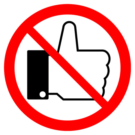not confirm: Prohibition thumb up sign on white background. Vector illustration. Illustration