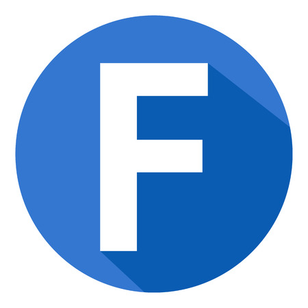 Letter F in blue circle on white background. Vector illustration.Œ
