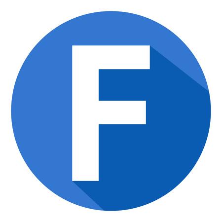 Letter F in de blauwe cirkel op een witte achtergrond. Vector illustratie. Stockfoto - 37926583