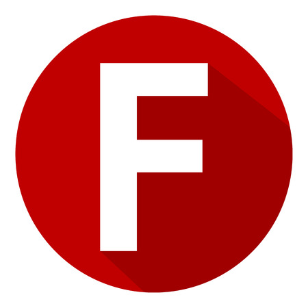 Letter F in red circle on white background. Vector illustration.�