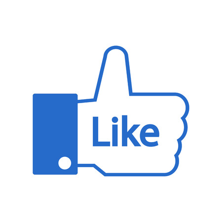 facebook: Thumb up on white background. Vector illustration.