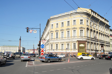 nevsky: ST.PETERSBURG, RUSSIA - 25 MAY, 2012: View of Nevsky Prospect and National Library of Russia.