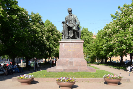 composer: ST.PETERSBURG, RUSSIA - 25 MAY, 2012: Theater Square and the statue of the composer Rimsky-Korsakov in the historic center of St. Petersburg.