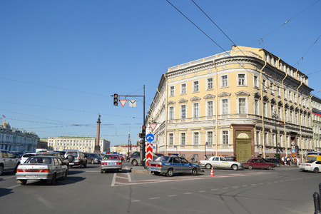 nevsky prospect: ST.PETERSBURG, RUSSIA - 25 MAY, 2012: View of Nevsky Prospect and National Library of Russia.