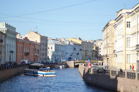 pleasure craft: ST.PETERSBURG, RUSSIA - 25 MAY, 2012: Pleasure boats on the canal in the center of St. Petersburg.