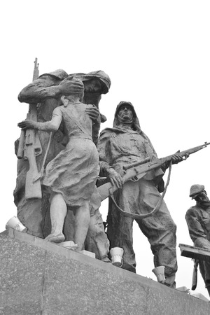 heroic: ST.PETERSBURG, RUSSIA - 24 JULY 2012: Fragment of Monument to the Heroic Defenders of Leningrad. Black and white. Editorial