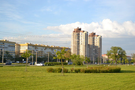 suburb: Park and residential suburb of St. Petersburg at summer evening, Russia. Stock Photo