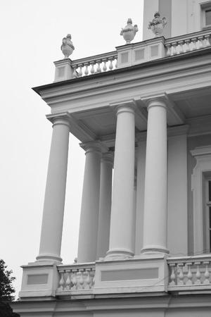 outskirts: Fragment of Katalnaya gorka pavilion in Oranienbaum, outskirts of St. Petersburg, Russia. Black and white.