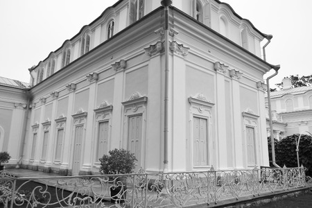 outskirts: Palace in Oranienbaum, outskirts of St. Petersburg, Russia. Black and white. Editorial