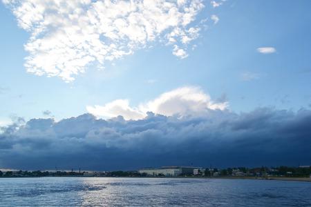 neva: Neva River at cloudy day.