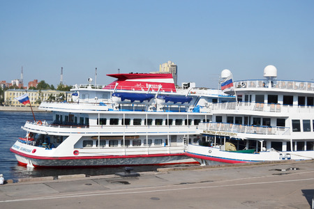 liner transportation: ST.PETERSBURG, RUSSIA - JULY 29, 2012: River cruise ships near the embankment in St. Petersburg.