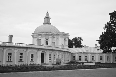outskirts: Big Menshikovsky palace in Oranienbaum, outskirts of St. Petersburg, Russia. Black and white. Editorial