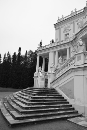 The Katalnaya gorka pavilion in Oranienbaum, outskirts of St. Petersburg, Russia. Black and white.