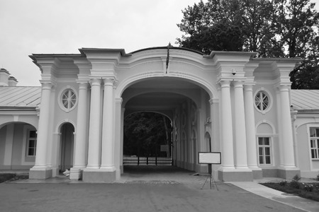 outskirts: Gate of Big Menshikovsky palace in Oranienbaum, outskirts of St. Petersburg, Russia. Black and white. Editorial
