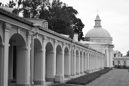 outbuilding: Outbuilding of Big Menshikovsky palace in Oranienbaum, outskirts of St. Petersburg, Russia. Black and white.
