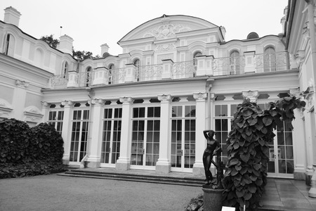 Palace in Oranienbaum, outskirts of St. Petersburg, Russia. Black and white.