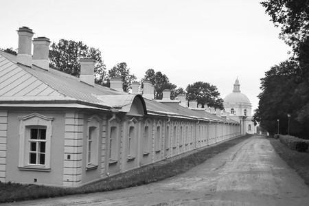 Outbuilding of Big Menshikovsky palace in Oranienbaum, outskirts of St. Petersburg, Russia. Black and white.