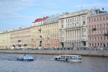 pleasure craft: ST.PETERSBURG, RUSSIA - AUGUST 22, 2012: View of Fontanka Embankment in center of St.Petersburg. Black and white.