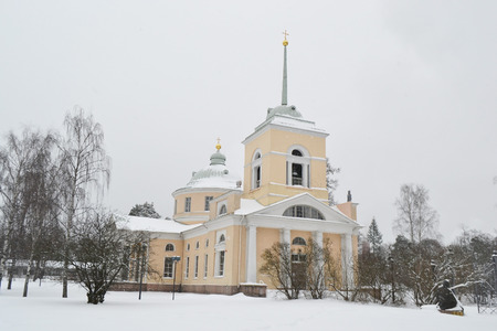 winter finland: St. Nicholas Orthodox Church in Kotka at winter, Finland. Stock Photo