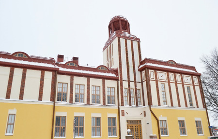 winter finland: Old building in Kotka at winter, Finland.