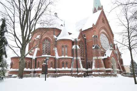 winter finland: The Cathedral in Kotka at winter, Finland.