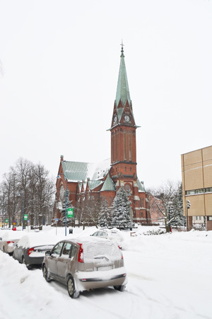 winter finland: KOTKA, FINLAND - DECEMBER 4, 2012: The Cathedral in Kotka at winter, Finland.