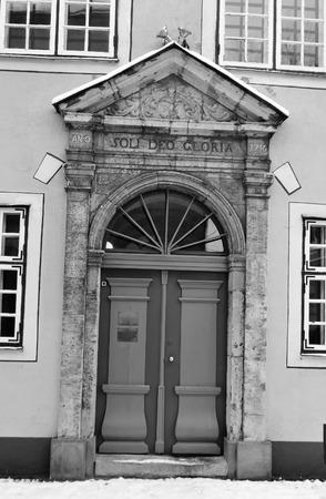riga: Old door in Riga, Latvia. Black and white.