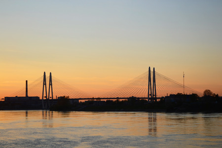 Cable-Stayed Bridge in St.Petersburg at sunny day, Russia. photo