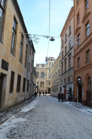 riga: RIGA, LATVIA - DECEMBER 8, 2012: View of center of Riga at winter, Latvia.
