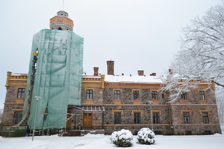 sigulda: Old castle in Sigulda at winter, Latvia. Editorial