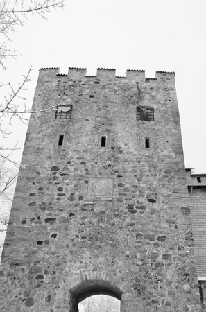 sigulda: Old castle ruins in Sigulda, Latvia. Black and white.
