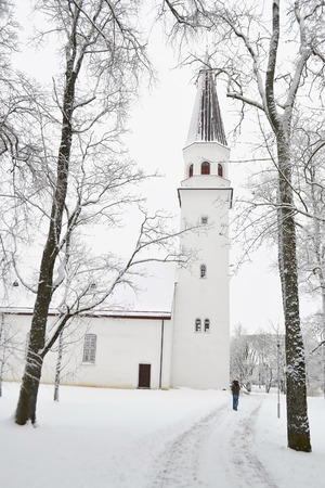 sigulda: Winter landscape and Lutheran church in Sigulda, Latvia.