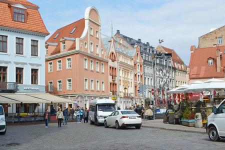 riga: RIGA, LATVIA - APRIL 18, 2015: Street in center of Riga. Editorial