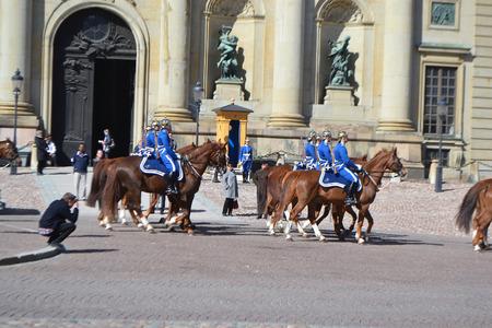 royal guard: STOCKHOLM, SWEDEN - APRIL 19, 2015: Sweden Royal guard on street of Stockholm. Editorial