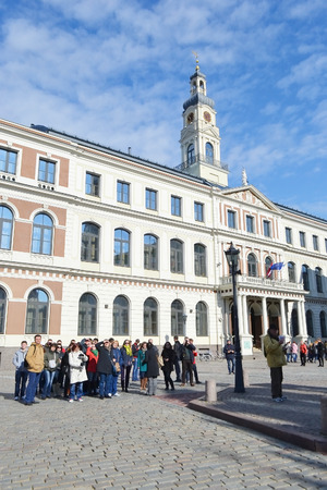 town hall square: RIGA, LATVIA - APRIL 18, 2015: Town Hall Square in center of Riga.