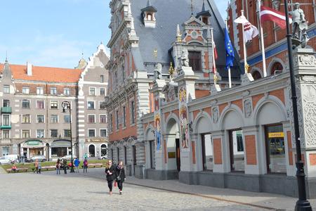 riga: RIGA, LATVIA - APRIL 18, 2015: House of the Blackheads in old town of Riga, Latvia.