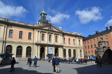 nobel: STOCKHOLM, SWEDEN - APRIL 19, 2015: Swedish Academy and Nobel Museum on Stortorget square in Stockholm.