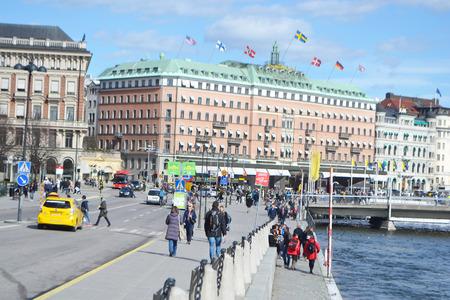 STOCKHOLM, SWEDEN - APRIL 19, 2015: View of cental part of Stockholm. Norrmalm (Stockholm area). Editorial
