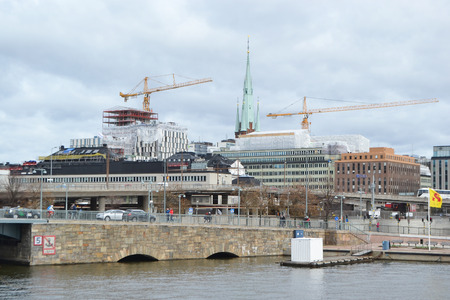 norrmalm: STOCKHOLM, SWEDEN - APRIL 19, 2015: View of embankment in center part of Stockholm. Norrmalm (Stockholm area). Editorial